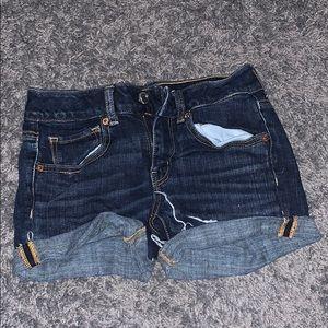 Dark wash midi shorts